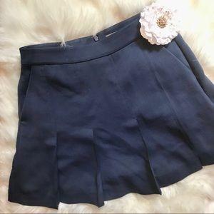 Vince Navy Blue Pleated Short Skirt